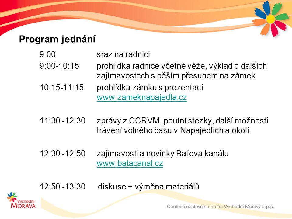 Program jednání 9:00 sraz na radnici 9:00-10:15prohlídka radnice včetně věže, výklad o dalších zajímavostech s pěším přesunem na zámek 10:15-11:15 pro
