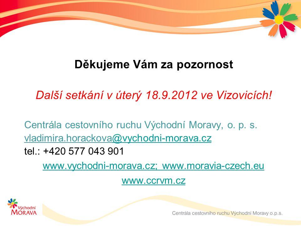 Děkujeme Vám za pozornost Další setkání v úterý 18.9.2012 ve Vizovicích! Centrála cestovního ruchu Východní Moravy, o. p. s. vladimira.horackova@vycho