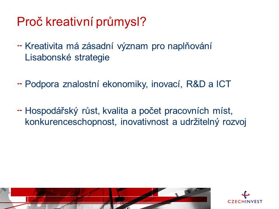 Proč kreativní průmysl? Kreativita má zásadní význam pro naplňování Lisabonské strategie Podpora znalostní ekonomiky, inovací, R&D a ICT Hospodářský r