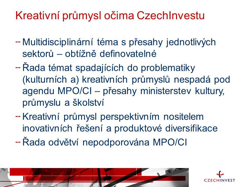 Kreativní průmysl očima CzechInvestu Multidisciplinární téma s přesahy jednotlivých sektorů – obtížně definovatelné Řada témat spadajících do problema