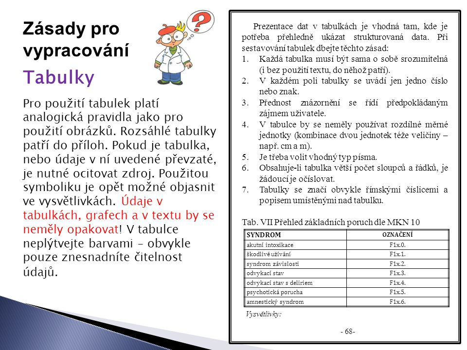 Zásady pro vypracování Tabulky Prezentace dat v tabulkách je vhodná tam, kde je potřeba přehledně ukázat strukturovaná data.
