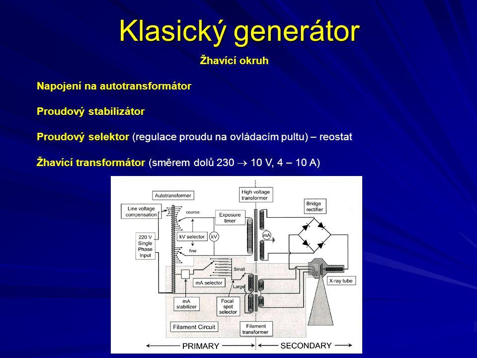 Zatěžovací a tepelná charakteristika rentgenky Zatěžovací charakteristika rentgenky (I-t diagram pro různá U) Tepelná charakteristika rentgenky (vychlazovací a vyhřívací charakteristiky) (Q-t diagram pro různá W) Energie přenesená na ohnisko je E = U.I.t Pro pulsní rentgenku je však potřeba uvážit, že mezi jednotlivými pulzy neběží na plný výkon.