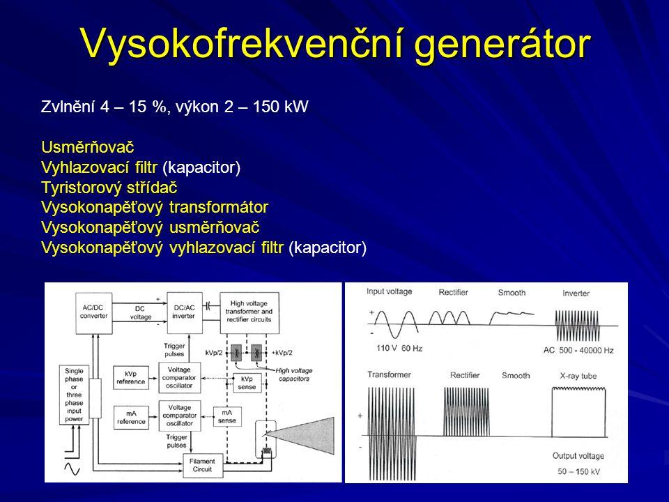 Tepelné poškození anody a ohniska Příklad 1: Rotační wolframová anoda o hmotnosti 1 kg se nalézá uvnitř rentgenky, připojené na třífázový šestipulzní generátor, pracující při hodnotě potenciálového rozdílu 125 kV, a proudu 187 mA.