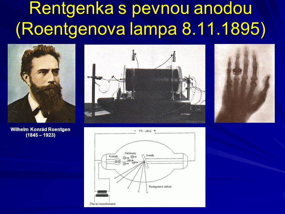 Rentgenka s rotační anodou (Coolidgeova rentgenka - 1913) při konstrukci lékařských diagnostických RTG je dávána přednost rentgence s rotační anodou, která umožňuje zmenšit optické ohnisko rentgenky až na rozměr cca 0,1 x 0,1 mm William David Coolidge (1873 – 1975)