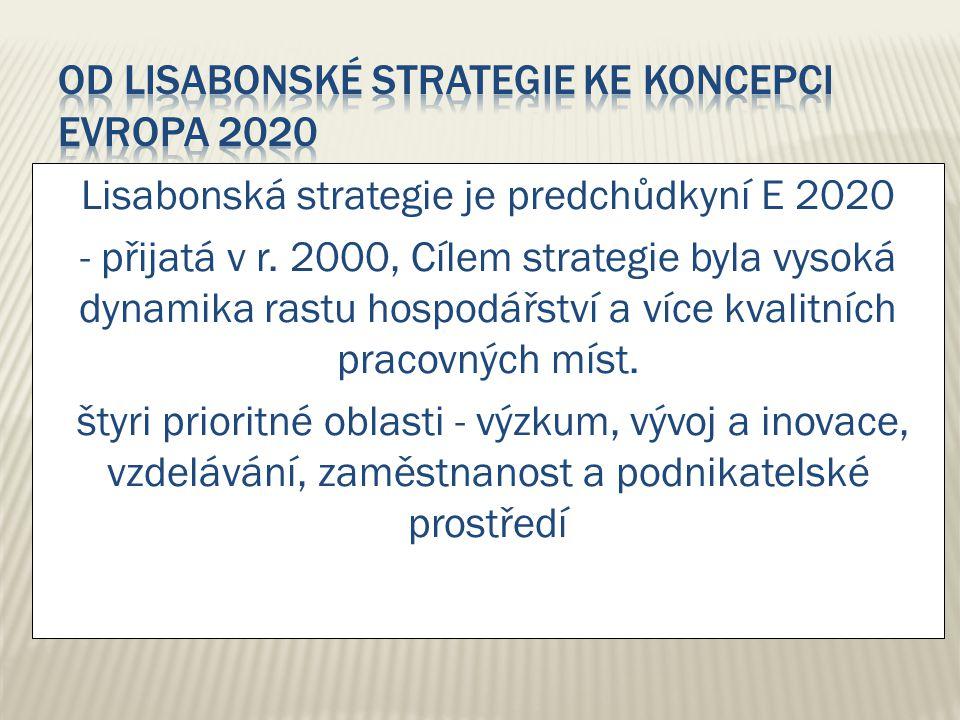 Lisabonská strategie je predchůdkyní E 2020 - přijatá v r. 2000, Cílem strategie byla vysoká dynamika rastu hospodářství a více kvalitních pracovných