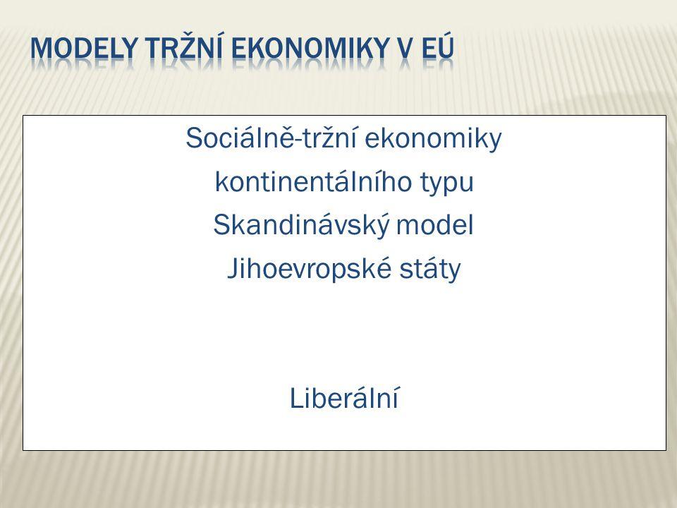 Sociálně-tržní ekonomiky kontinentálního typu Skandinávský model Jihoevropské státy Liberální