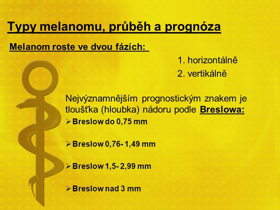 Typy melanomu, průběh a prognóza Melanom roste ve dvou fázích: 1. horizontálně 2. vertikálně Nejvýznamnějším prognostickým znakem je tloušťka (hloubka