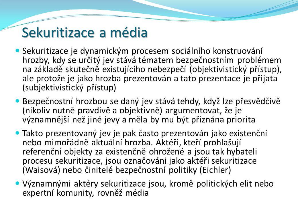 Sekuritizace a média  Sekuritizace je dynamickým procesem sociálního konstruování hrozby, kdy se určitý jev stává tématem bezpečnostním problémem na