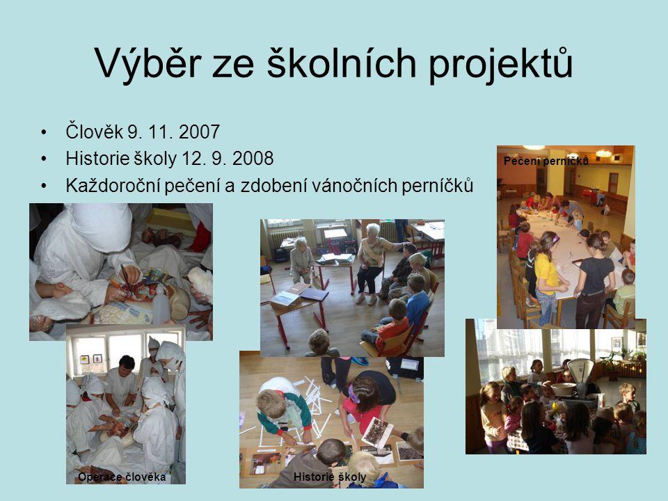 Výběr ze školních projektů •Člověk 9. 11. 2007 •Historie školy 12. 9. 2008 •Každoroční pečení a zdobení vánočních perníčků Operace člověkaHistorie ško