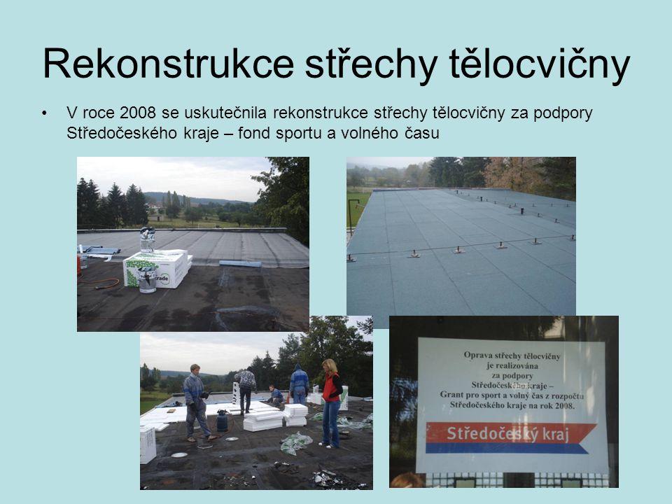 Rekonstrukce střechy tělocvičny •V roce 2008 se uskutečnila rekonstrukce střechy tělocvičny za podpory Středočeského kraje – fond sportu a volného čas