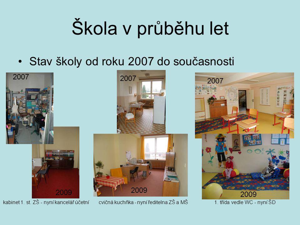 Škola v průběhu let •Stav školy od roku 2007 do současnosti kabinet 1. st. ZŠ - nyní kancelář účetnícvičná kuchňka - nyní ředitelna ZŠ a MŠ1. třída ve