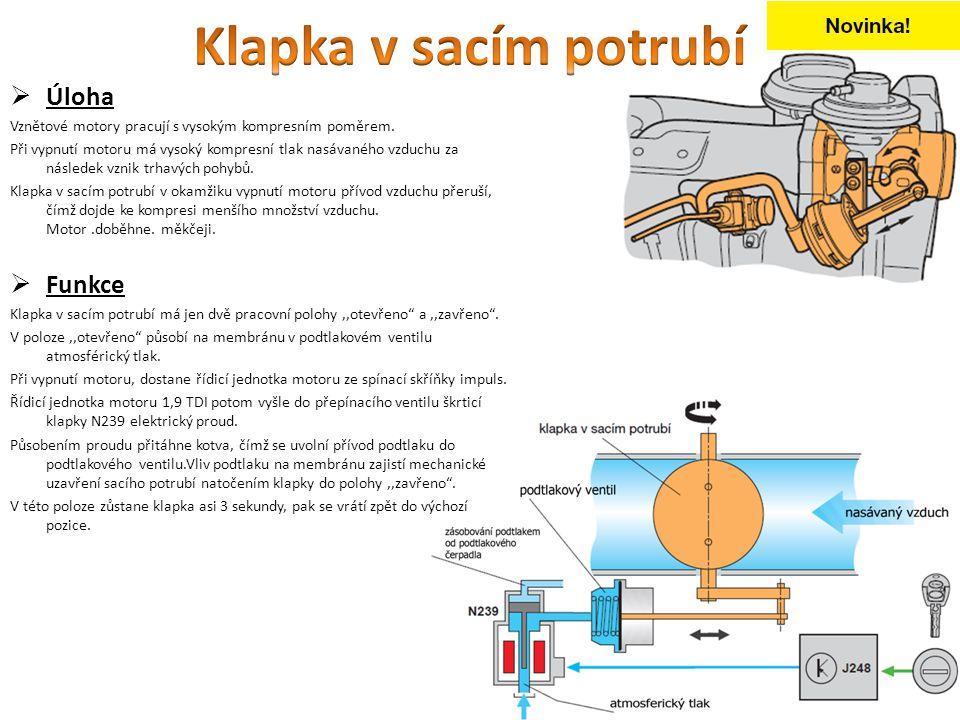  Úloha Vznětové motory pracují s vysokým kompresním poměrem. Při vypnutí motoru má vysoký kompresní tlak nasávaného vzduchu za následek vznik trhavýc