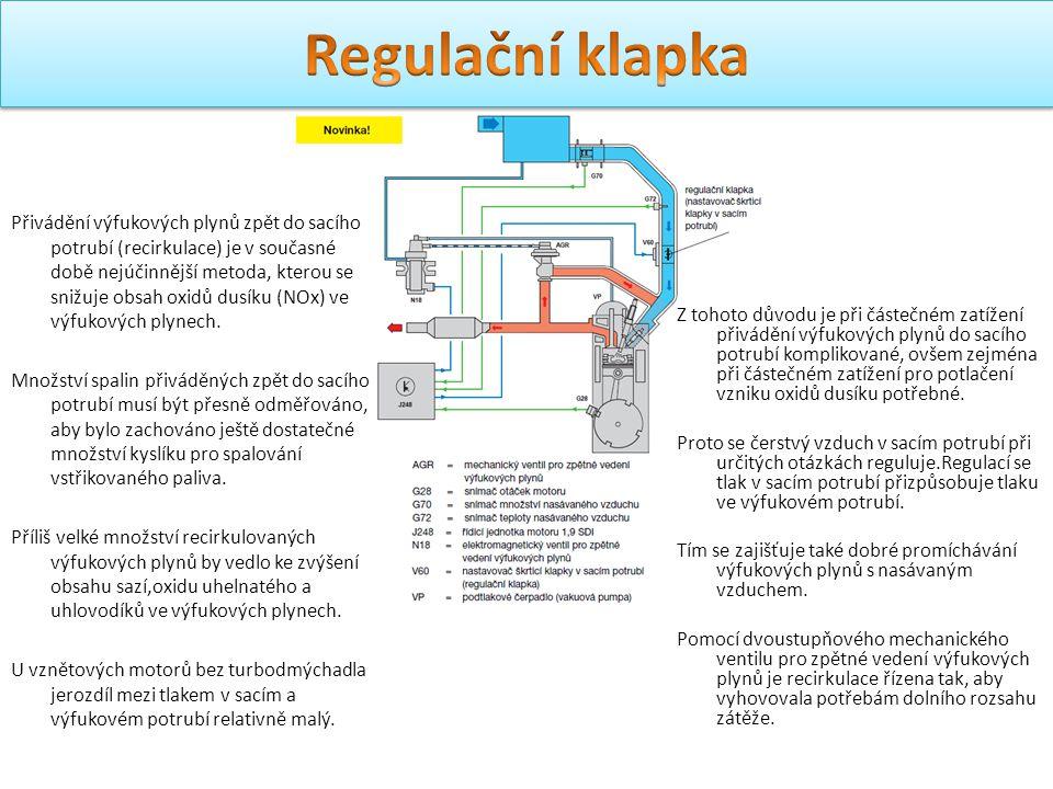 Přivádění výfukových plynů zpět do sacího potrubí (recirkulace) je v současné době nejúčinnější metoda, kterou se snižuje obsah oxidů dusíku (NOx) ve