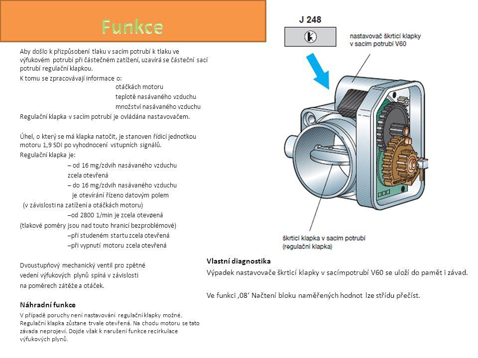 Vlastní diagnostika Výpadek nastavovače škrticí klapky v sacímpotrubí V60 se uloží do pamět i závad. Ve funkci '08' Načtení bloku naměřených hodnot lz
