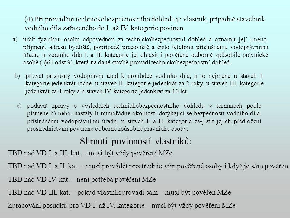 (4) Při provádění technickobezpečnostního dohledu je vlastník, případně stavebník vodního díla zařazeného do I. až IV. kategorie povinen a) určit fyzi