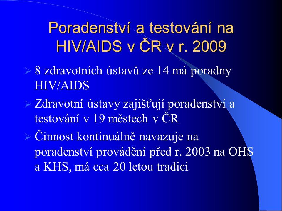Poradenství a testování na HIV/AIDS v ČR v r. 2009  8 zdravotních ústavů ze 14 má poradny HIV/AIDS  Zdravotní ústavy zajišťují poradenství a testová