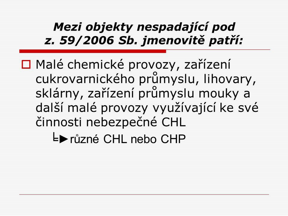 Mezi objekty nespadající pod z. 59/2006 Sb. jmenovitě patří:  Malé chemické provozy, zařízení cukrovarnického průmyslu, lihovary, sklárny, zařízení p
