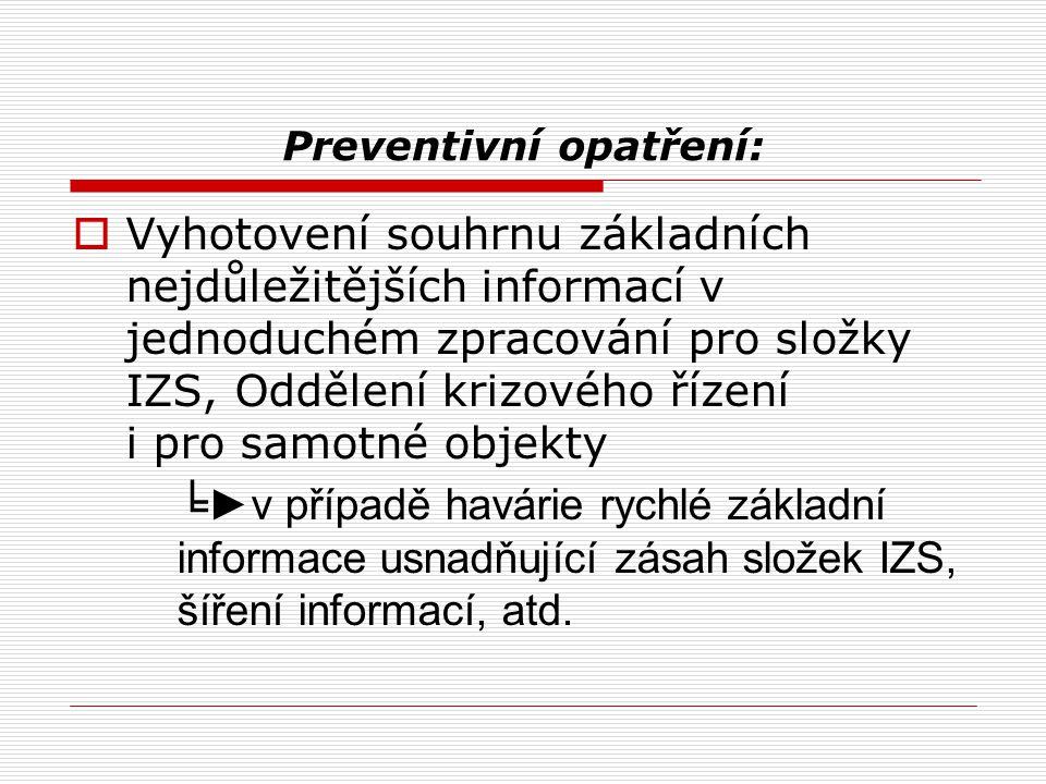 Preventivní opatření:  Vyhotovení souhrnu základních nejdůležitějších informací v jednoduchém zpracování pro složky IZS, Oddělení krizového řízení i pro samotné objekty ╘ ►v případě havárie rychlé základní informace usnadňující zásah složek IZS, šíření informací, atd.