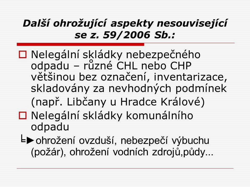 Další ohrožující aspekty nesouvisející se z. 59/2006 Sb.:  Nelegální skládky nebezpečného odpadu – různé CHL nebo CHP většinou bez označení, inventar