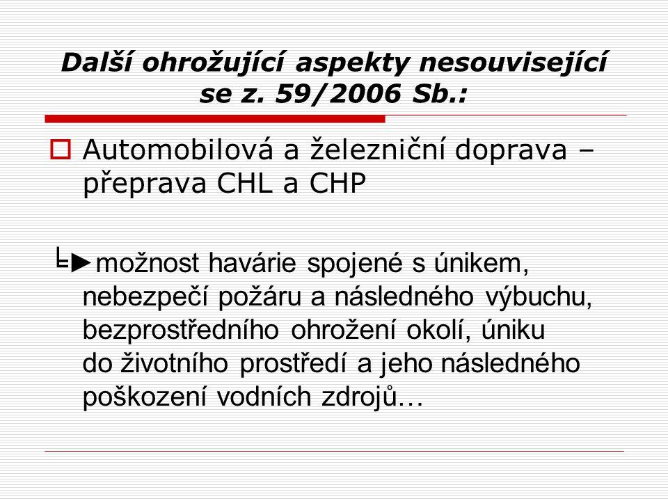 Další ohrožující aspekty nesouvisející se z. 59/2006 Sb.:  Automobilová a železniční doprava – přeprava CHL a CHP ╘ ►možnost havárie spojené s únikem