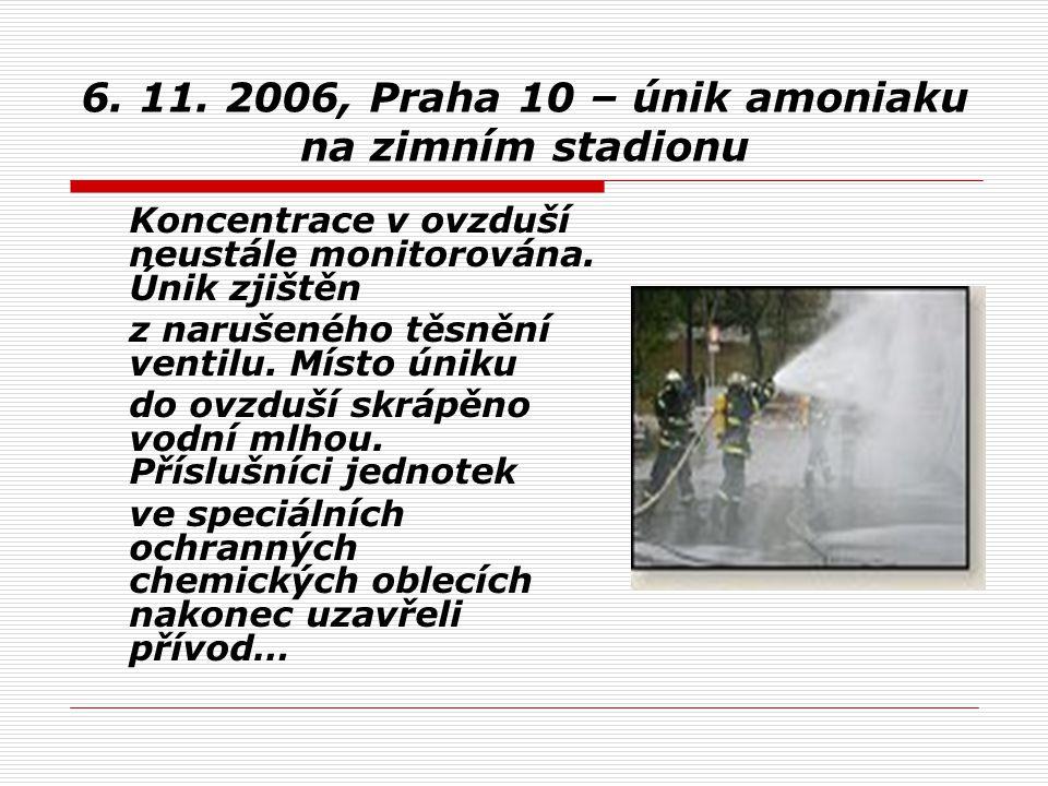 6. 11. 2006, Praha 10 – únik amoniaku na zimním stadionu Koncentrace v ovzduší neustále monitorována. Únik zjištěn z narušeného těsnění ventilu. Místo