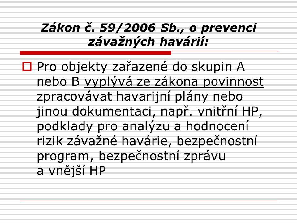 Zákon č. 59/2006 Sb., o prevenci závažných havárií:  Pro objekty zařazené do skupin A nebo B vyplývá ze zákona povinnost zpracovávat havarijní plány