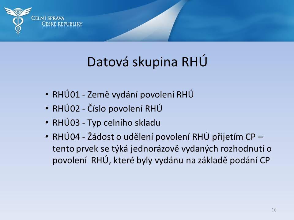 Datová skupina RHÚ • RHÚ01 - Země vydání povolení RHÚ • RHÚ02 - Číslo povolení RHÚ • RHÚ03 - Typ celního skladu • RHÚ04 - Žádost o udělení povolení RH