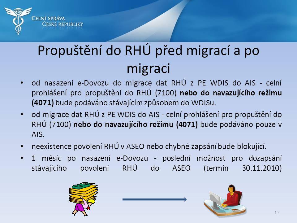 Propuštění do RHÚ před migrací a po migraci • od nasazení e-Dovozu do migrace dat RHÚ z PE WDIS do AIS - celní prohlášení pro propuštění do RHÚ (7100)