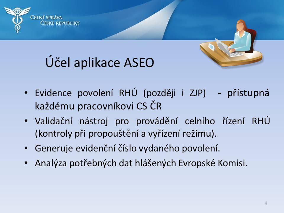 Účel aplikace ASEO • Evidence povolení RHÚ (později i ZJP) - přístupná každému pracovníkovi CS ČR • Validační nástroj pro provádění celního řízení RHÚ