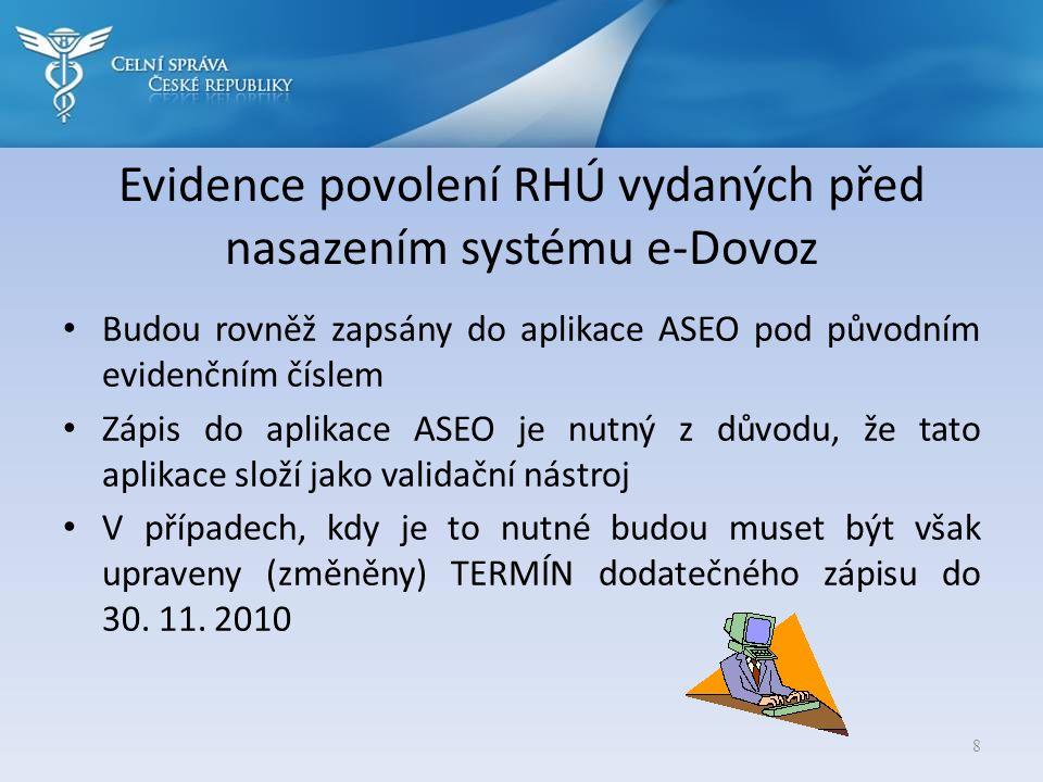 Evidence povolení RHÚ vydaných před nasazením systému e-Dovoz • Budou rovněž zapsány do aplikace ASEO pod původním evidenčním číslem • Zápis do aplika