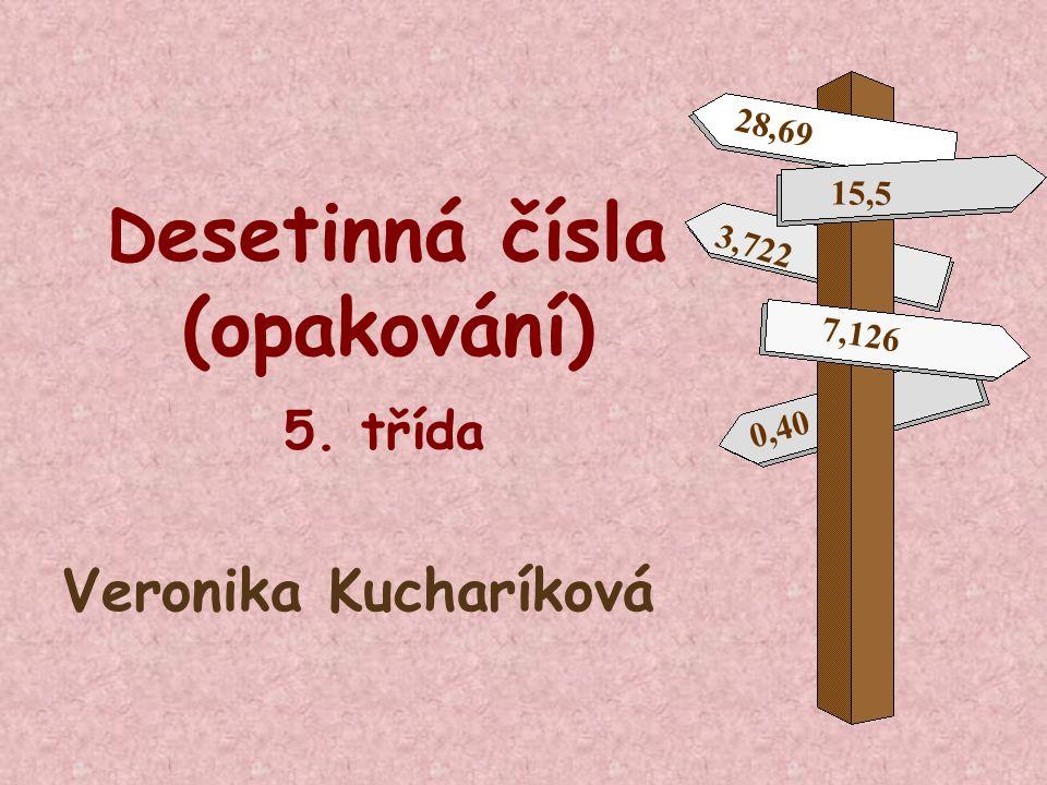 D esetinná čísla (opakování) 5. třída Veronika Kucharíková 15,5 28,69 7,126 0,40 3,722