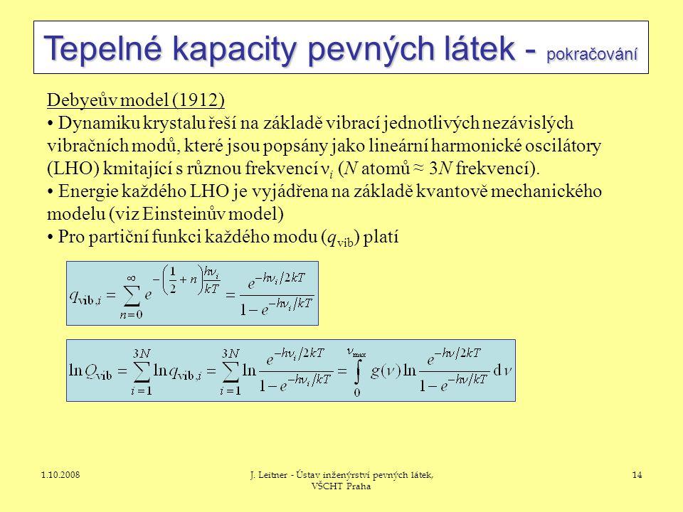 1.10.2008J. Leitner - Ústav inženýrství pevných látek, VŠCHT Praha 14 Tepelné kapacity pevných látek - pokračování Debyeův model (1912) • Dynamiku kry