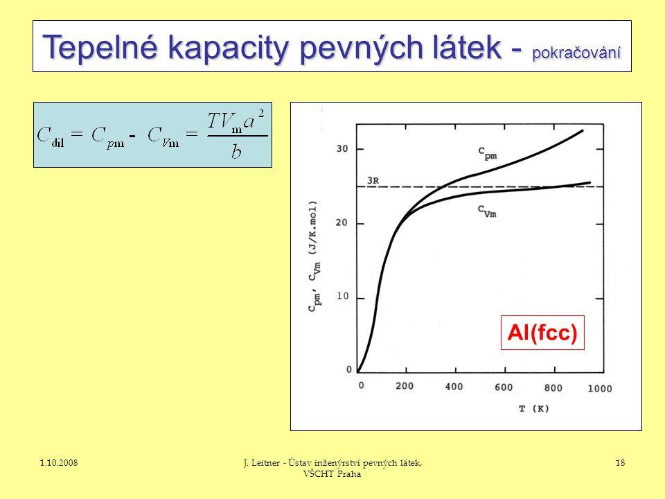 1.10.2008J. Leitner - Ústav inženýrství pevných látek, VŠCHT Praha 18 Tepelné kapacity pevných látek - pokračování Al(fcc)