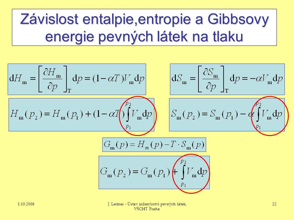 1.10.2008J. Leitner - Ústav inženýrství pevných látek, VŠCHT Praha 22 Závislost entalpie,entropie a Gibbsovy energie pevných látek na tlaku