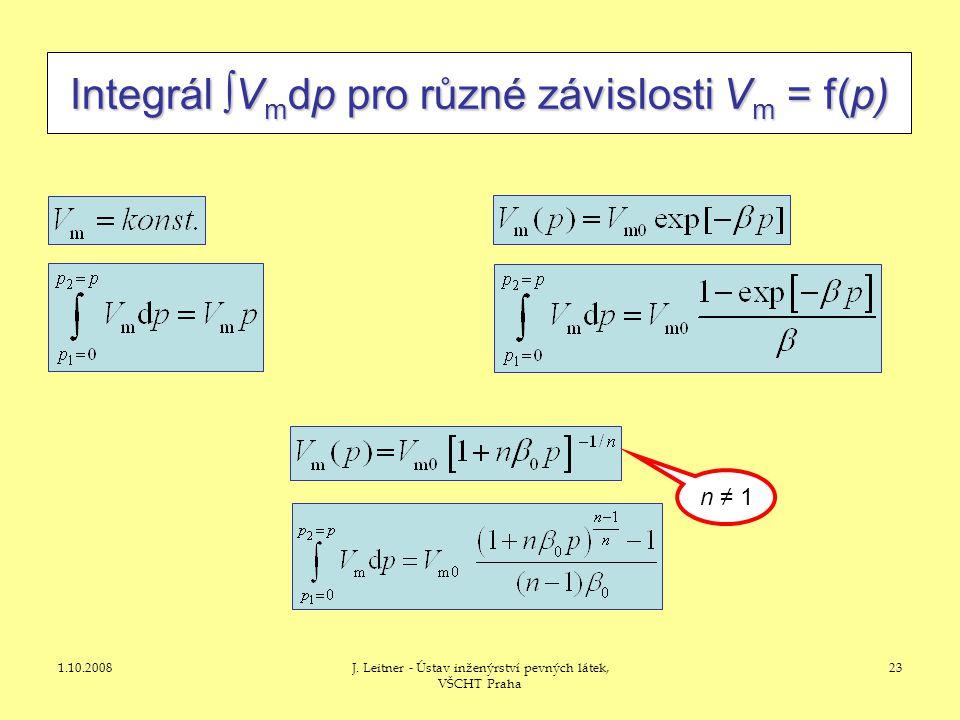 1.10.2008J. Leitner - Ústav inženýrství pevných látek, VŠCHT Praha 23 Integrál  V m dp pro různé závislosti V m = f(p) n ≠ 1