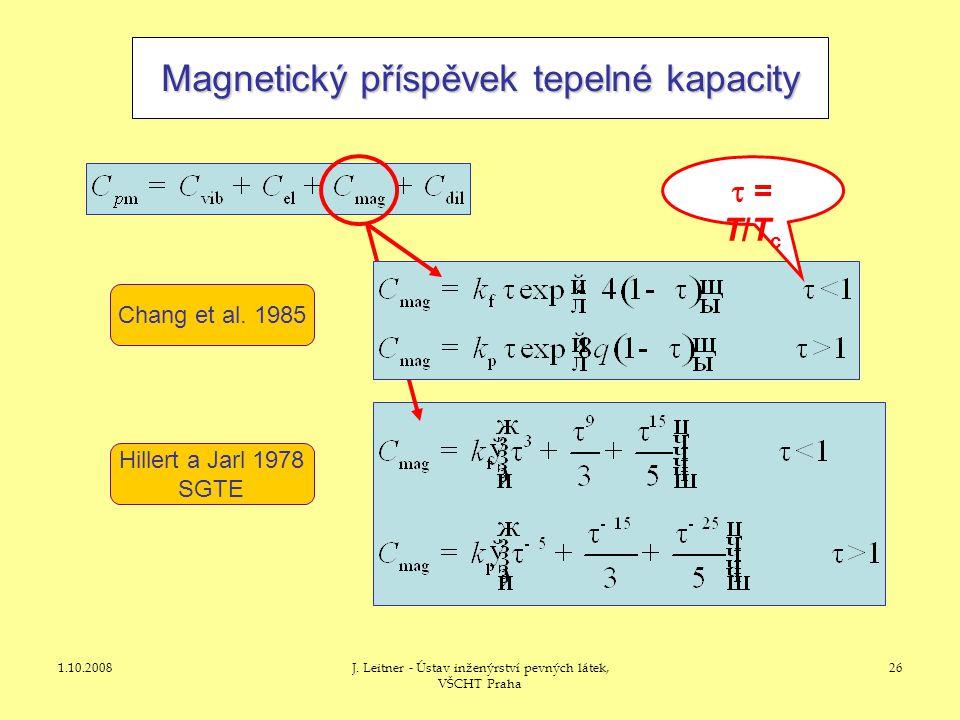 1.10.2008J. Leitner - Ústav inženýrství pevných látek, VŠCHT Praha 26 Magnetický příspěvek tepelné kapacity Chang et al. 1985 Hillert a Jarl 1978 SGTE