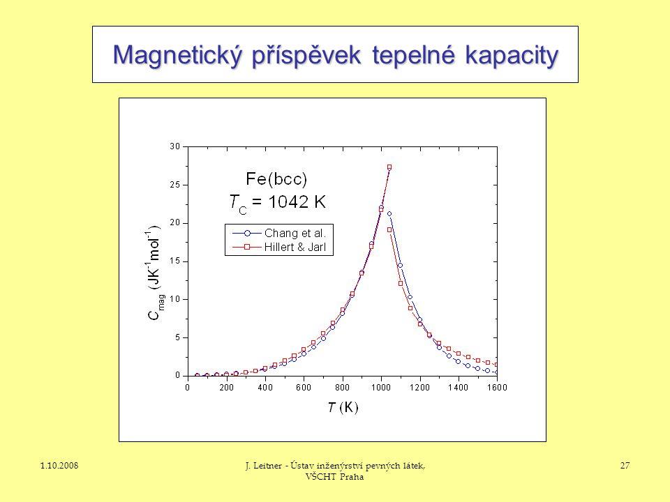 1.10.2008J. Leitner - Ústav inženýrství pevných látek, VŠCHT Praha 27 Magnetický příspěvek tepelné kapacity