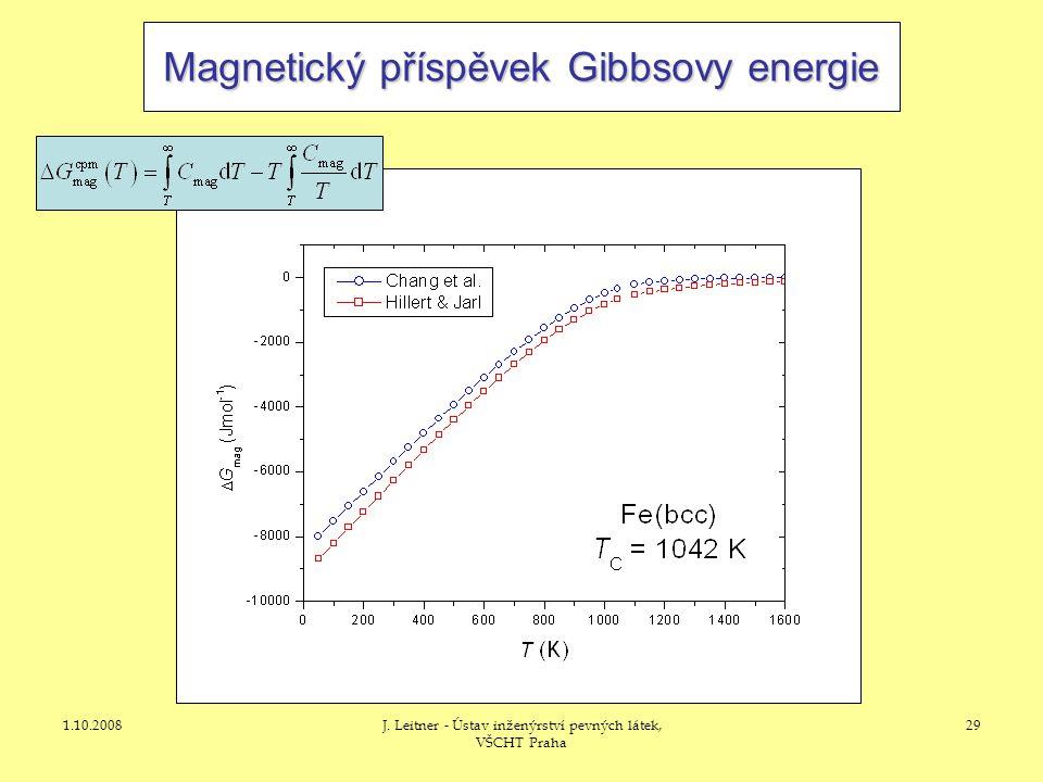 1.10.2008J. Leitner - Ústav inženýrství pevných látek, VŠCHT Praha 29 Magnetický příspěvek Gibbsovy energie