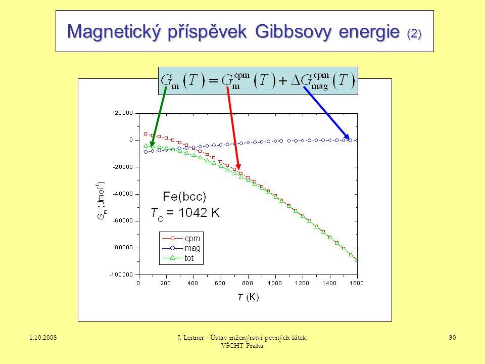 1.10.2008J. Leitner - Ústav inženýrství pevných látek, VŠCHT Praha 30 Magnetický příspěvek Gibbsovy energie (2)