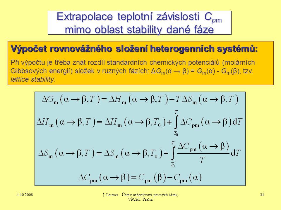 1.10.2008J. Leitner - Ústav inženýrství pevných látek, VŠCHT Praha 31 Extrapolace teplotní závislosti C pm mimo oblast stability dané fáze Výpočet rov