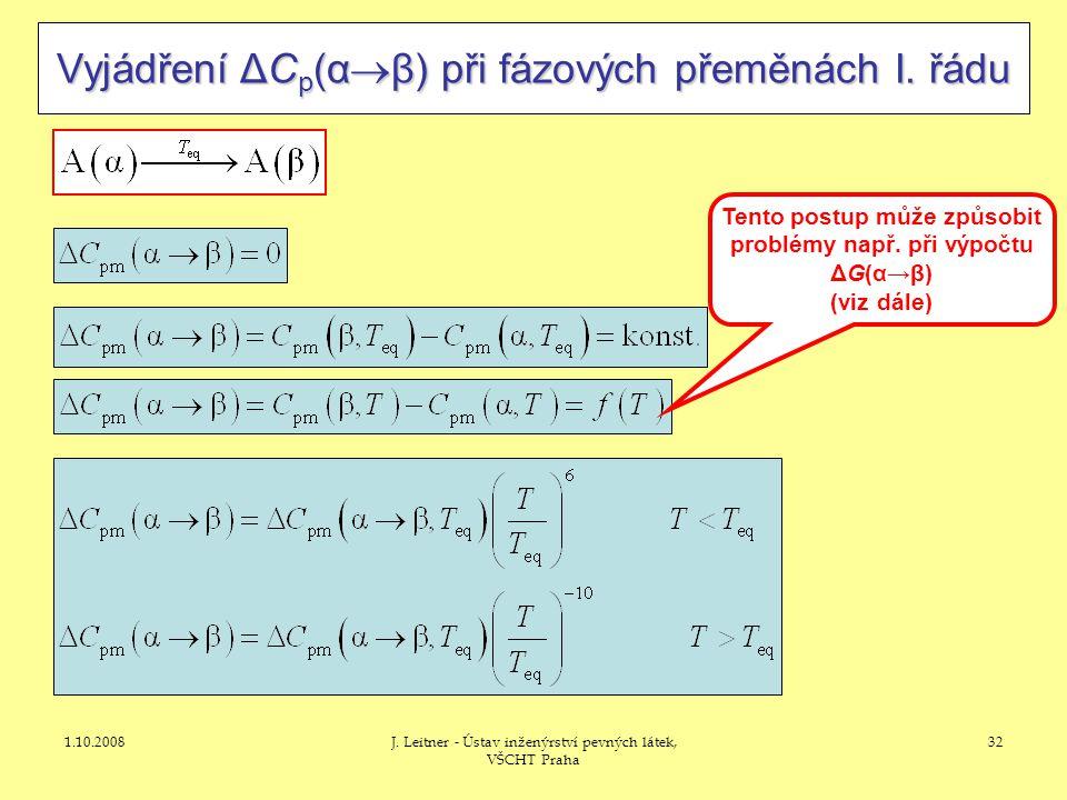 1.10.2008J. Leitner - Ústav inženýrství pevných látek, VŠCHT Praha 32 Vyjádření ΔC p (α  β) při fázových přeměnách I. řádu Tento postup může způsobit