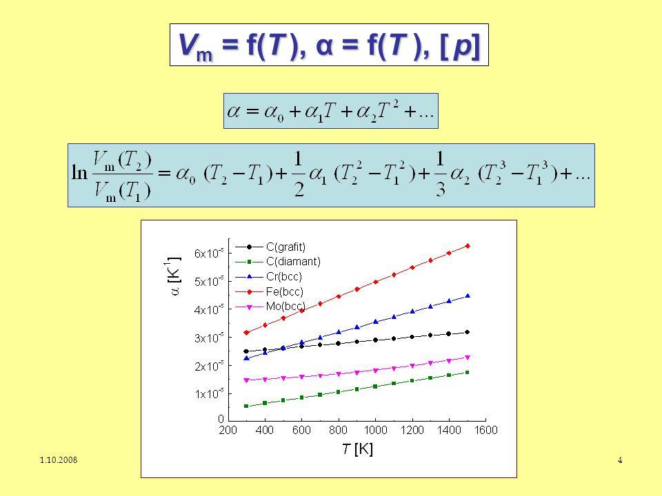 1.10.2008J. Leitner - Ústav inženýrství pevných látek, VŠCHT Praha 4 V m = f(T ), α = f(T ), [ p]