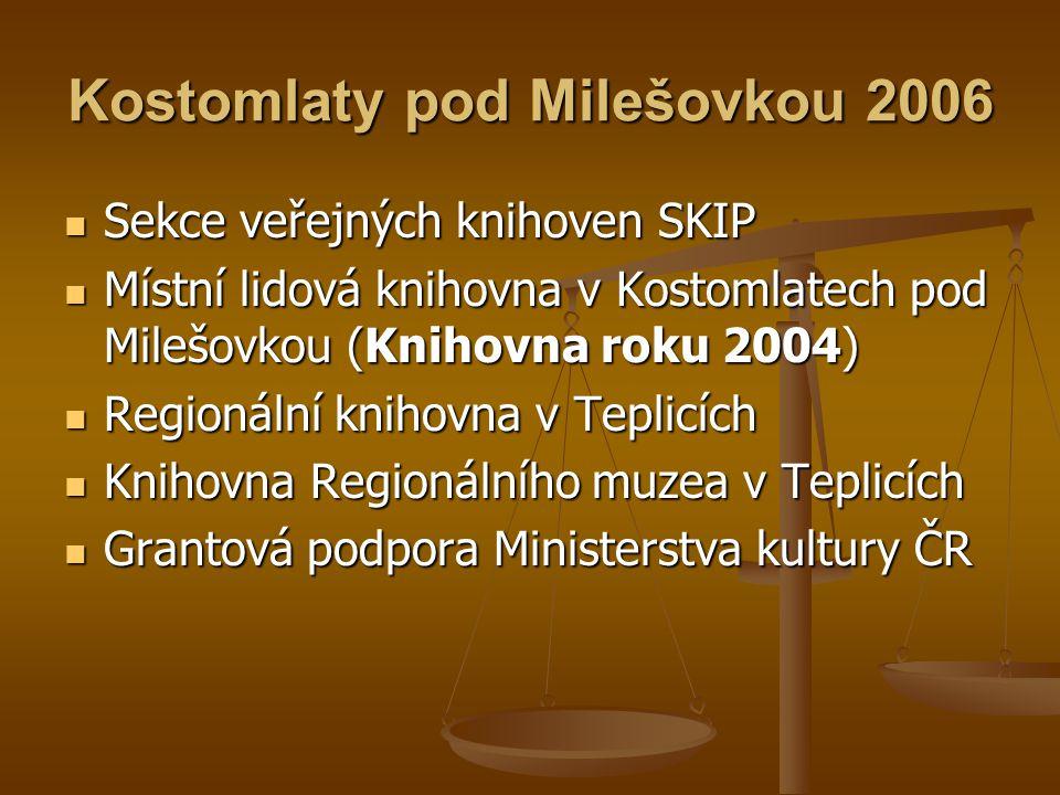 Kostomlaty pod Milešovkou 2006  Sekce veřejných knihoven SKIP  Místní lidová knihovna v Kostomlatech pod Milešovkou (Knihovna roku 2004)  Regionáln