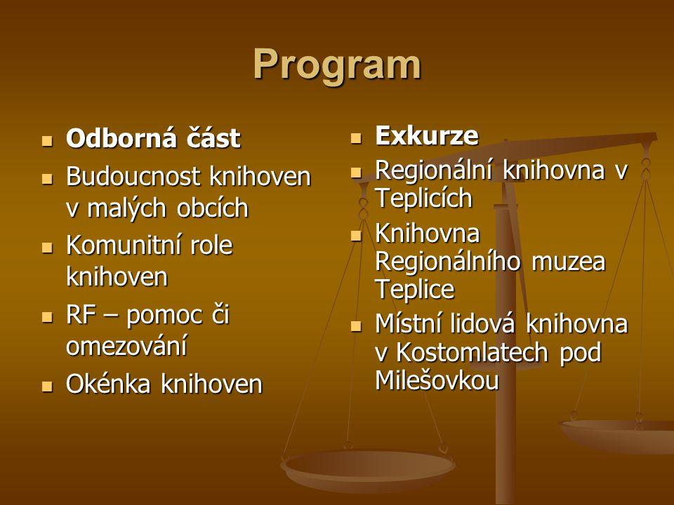 Program  Odborná část  Budoucnost knihoven v malých obcích  Komunitní role knihoven  RF – pomoc či omezování  Okénka knihoven  Exkurze  Regioná