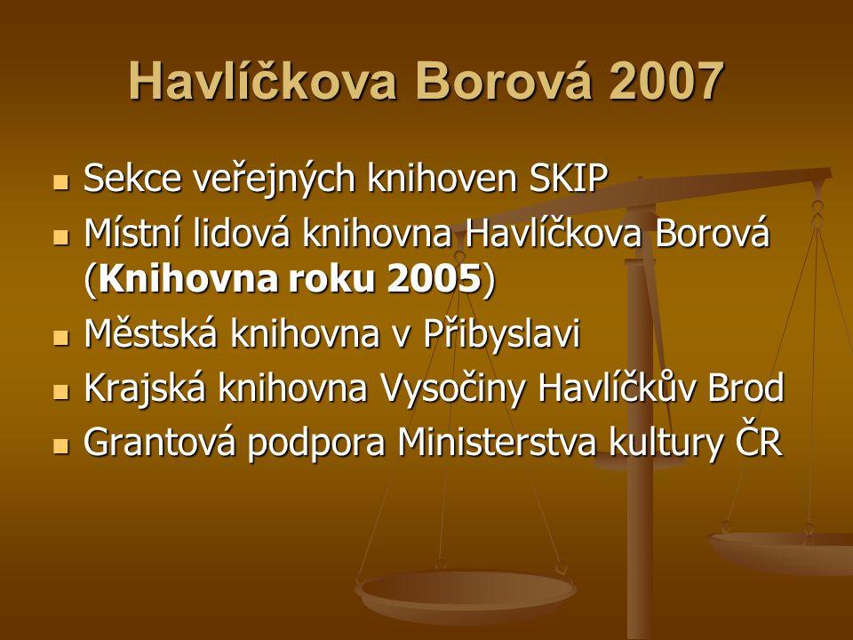 Havlíčkova Borová 2007  Sekce veřejných knihoven SKIP  Místní lidová knihovna Havlíčkova Borová (Knihovna roku 2005)  Městská knihovna v Přibyslavi
