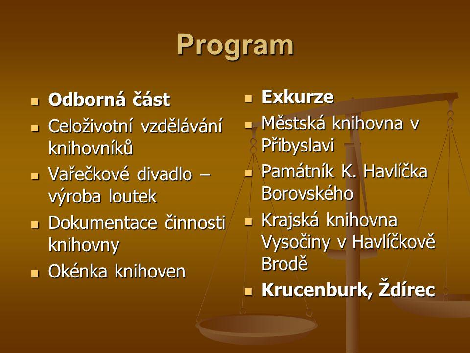 Program  Odborná část  Celoživotní vzdělávání knihovníků  Vařečkové divadlo – výroba loutek  Dokumentace činnosti knihovny  Okénka knihoven  Exk