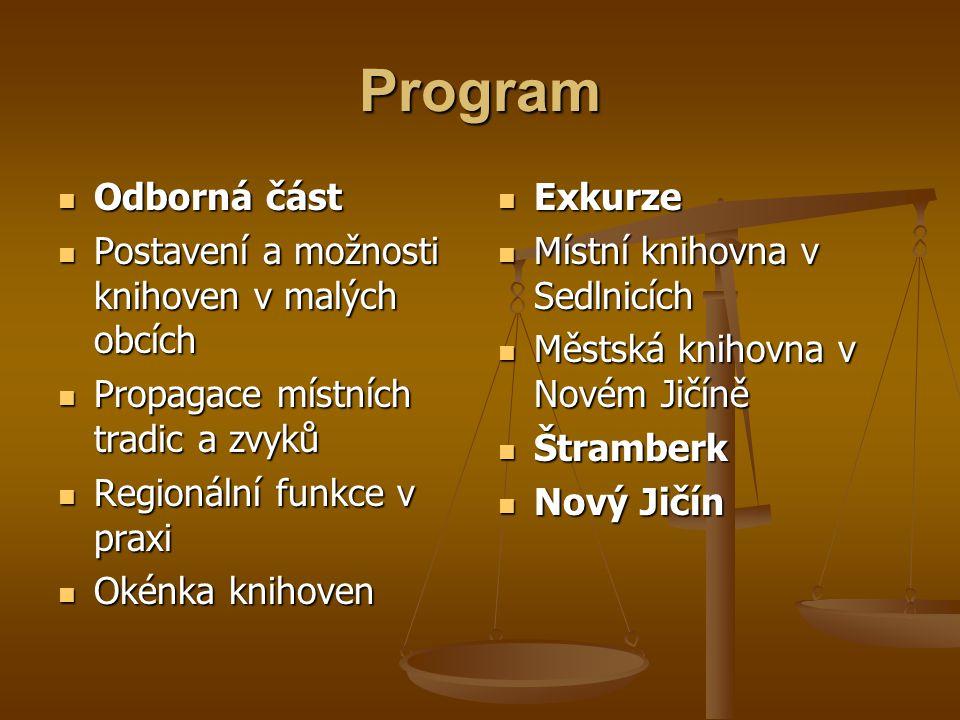 Program  Odborná část  Postavení a možnosti knihoven v malých obcích  Propagace místních tradic a zvyků  Regionální funkce v praxi  Okénka knihov