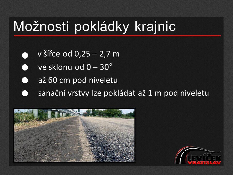 Další možnosti pokládky krajnic pokládka sanačních vrstev vozovek rozšíření vozovek pokládka vrstev v chodnících mezi obruby (příprava pro zámkovou dlažbu)
