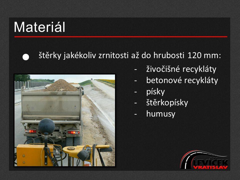 Materiál štěrky jakékoliv zrnitosti až do hrubosti 120 mm: -živočišné recykláty -betonové recykláty -písky -štěrkopísky -humusy