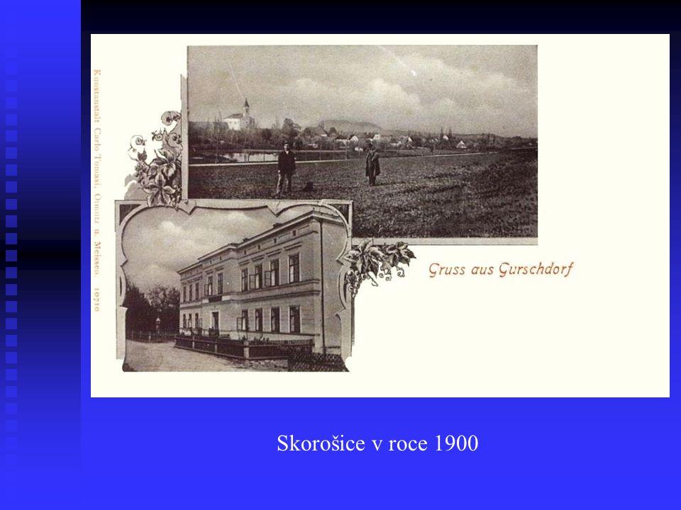 První zmínka roku 1284, obec nazvaná podle lokátora Skoroše, později německy Gurschdorf.